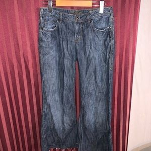 These are 3/4 length wide leg silver jeans /capris